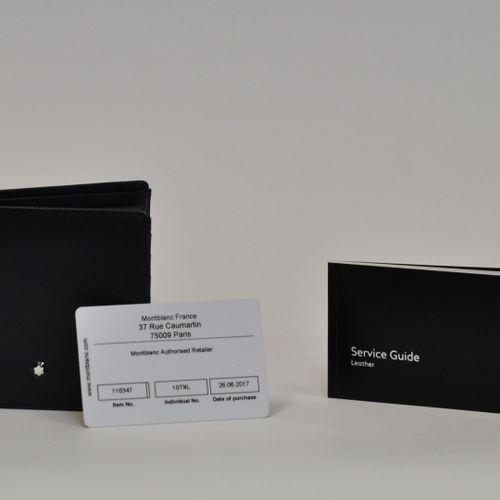MONTBLANC Made in Italy  Portefeuille et porte monnaie en cuir bleu marine, sigl…