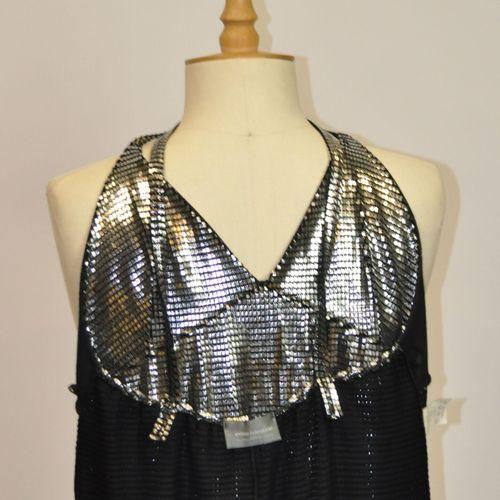 PACO RABANNE  Robe de soirée en cotte de maille mesh en métal argenté, bretelles…