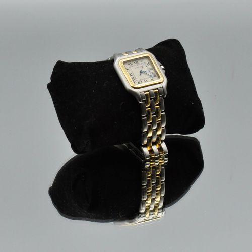 CARTIER  Panthère  No. 187 957 05025  Montre bracelet en acier or 18k (750). Fon…