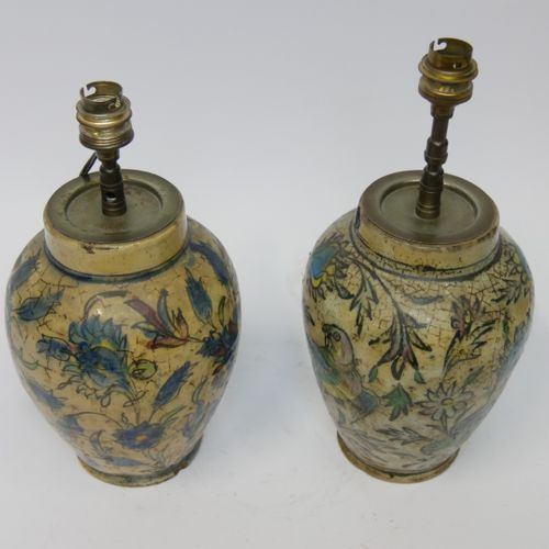 Pair of crackled ceramic lamps with enamelled decoration of parrots and polychro…