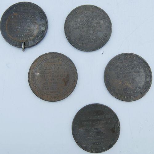 5 Médailles en Bronze.  4 Avers Vivre Libre ou Mourir, Pacte Fédératif 14 Juille…