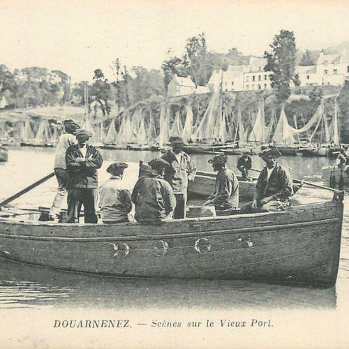"""9 CARTES POSTALES VIE & TRAVAIL A LA MER : Finistère. """"Carantec Départ pour la p…"""