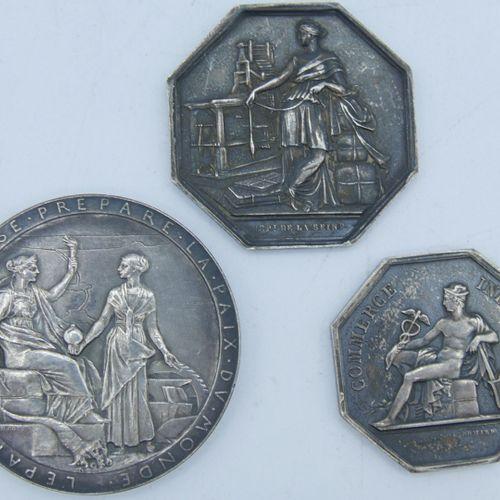 3 Jetons et Médailles Argent.  Commerce Industrie, Commissaires Experts du Gouve…