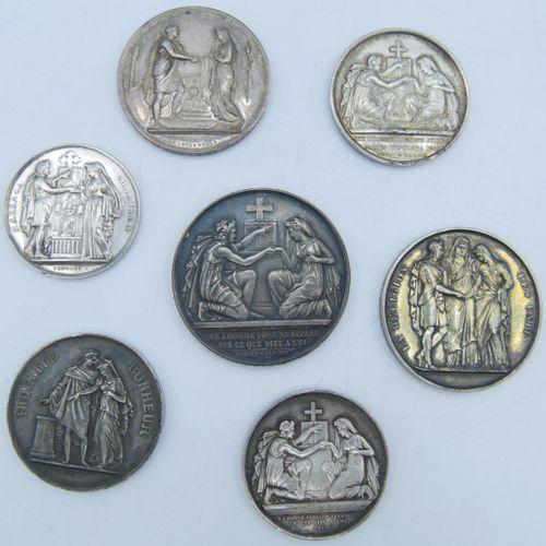 7 Médailles Argent. Médailles de Mariage.  3 Graveur Petit Que l'Homme donc ne s…