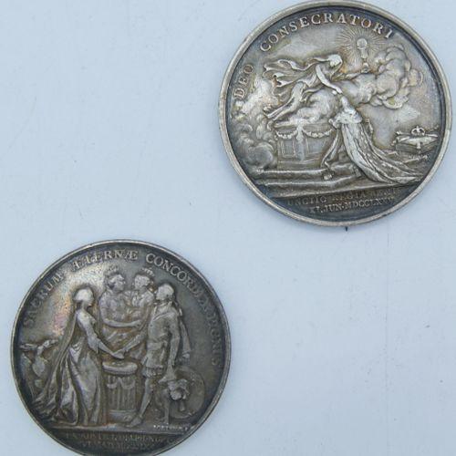 2 Médailles en Argent.  Louis XV dit le Bien Aimé, Mariage du Dauphin. Graveur L…