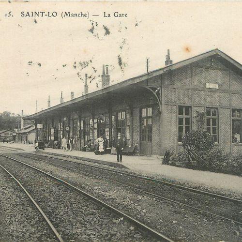 """5 CARTES POSTALES GARE : Sélection Saint Lô. """"Le Départ du Train la Gare (beau p…"""