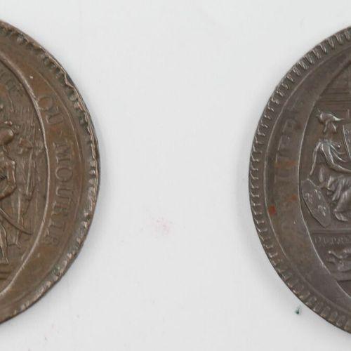 2 Médailles en Bronze.  Avers Vivre Libre ou Mourir, Pacte Fédératif 14 Juillet …