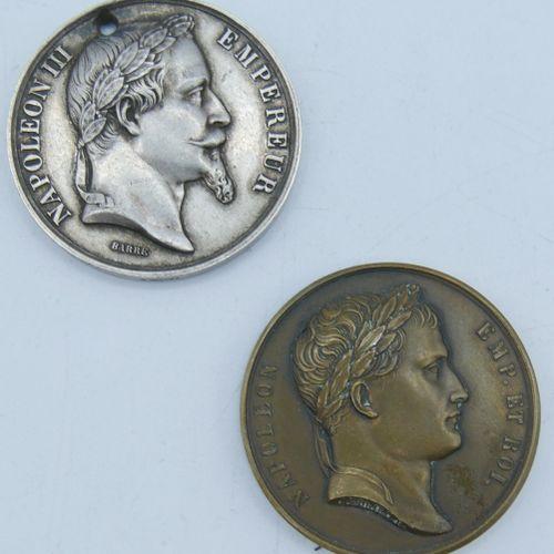 2 Médailles Argent et Bronze.  Napoléon et Napoléon III.  Napoléon, Batailles d'…