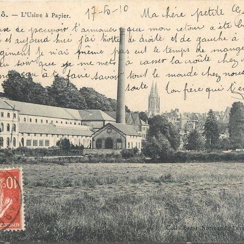 """10 CARTES POSTALES INDUSTRIE PAPETIERE : Saint Lô Vue générale. """"3cp : L'Usine à…"""