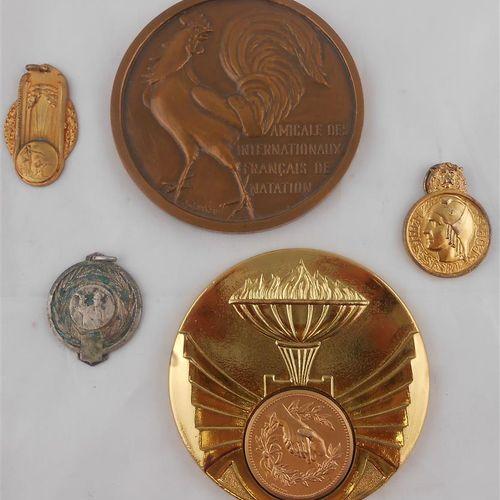 5 MEDAILLES. Sports. Bronze et Métal.  Amicale des Internationaux Français de Na…