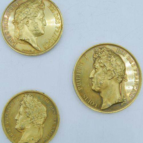 3 Médailles Cuivre doré.  Louis Philippe 1er, médaille de récompense, Intendance…
