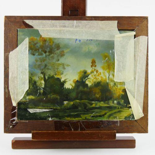 Ecole du XXème siècle  Paysages animés. Jeune femme près d'un village et charret…