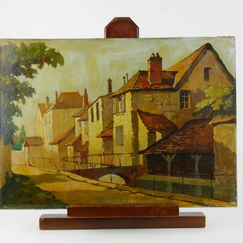 Ecole du XXème siècle  Deux scènes de village près d'un cours d'eau  Huiles sur …