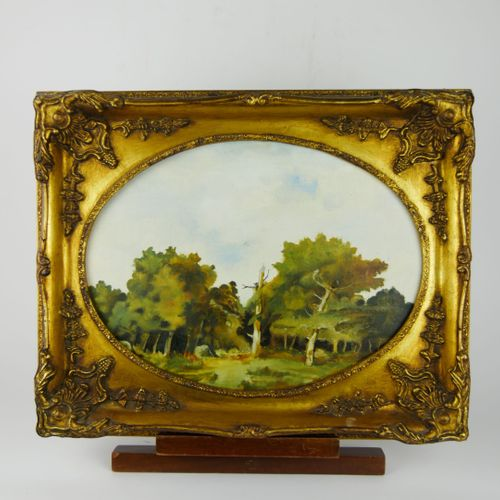 Ecole du XXème siècle  Scènes de sous bois  Deux huiles sur panneau  30,5 x 40 c…
