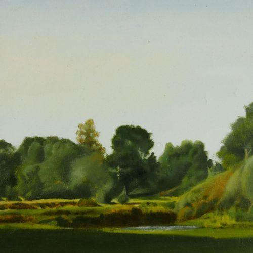 Ecole du XXème siècle  Paysages. Lac et bois.  Deux huiles sur panneau et sur to…