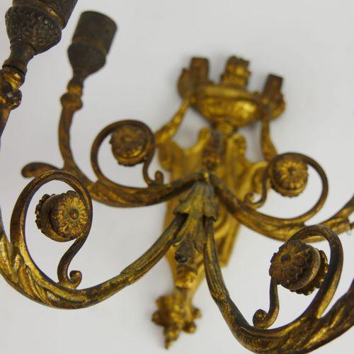 Paire d'appliques à quatre bras de lumière en laiton doré.  Circa 1900.  (Binet …