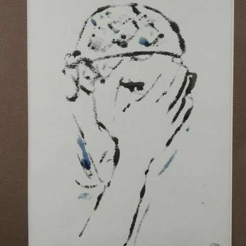 Yan Roca FOLCH. Ecole du XXème siècle  Jeune homme se cachant le visage  Encre s…