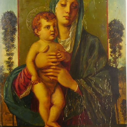 D'après Giovanni BELLINI (Vers 1430 1516)  La Vierge aux arbrisseaux  Huile sur …