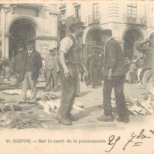 """7 CARTES POSTALES LA PECHE : Petite Sélection. """"DIeppe Marins déchargeant des co…"""