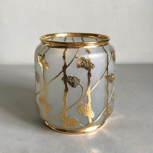 Opaline glass vase or candle jar with gold applied decoration of stylized flower…