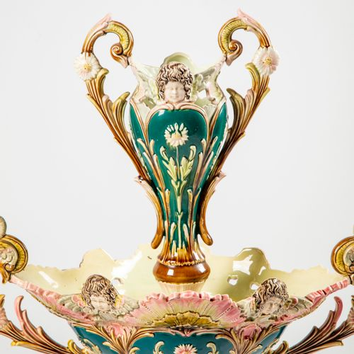 Spectacular green, pink, brown glazed earthenware bowl composed of a vase in the…