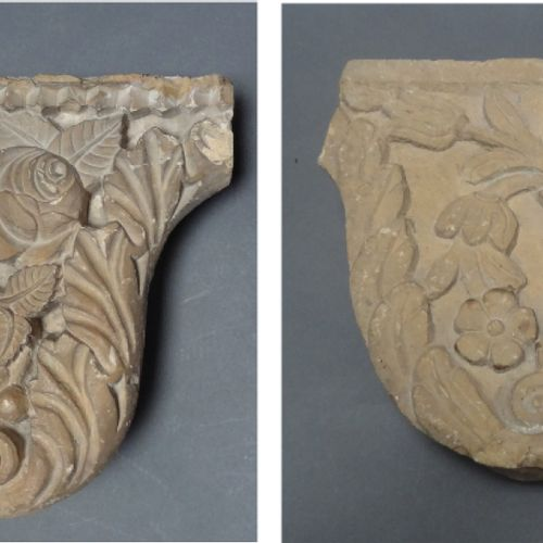 Two pilaster capitals in soft stone carved in bas relief of flowers, palmettes a…