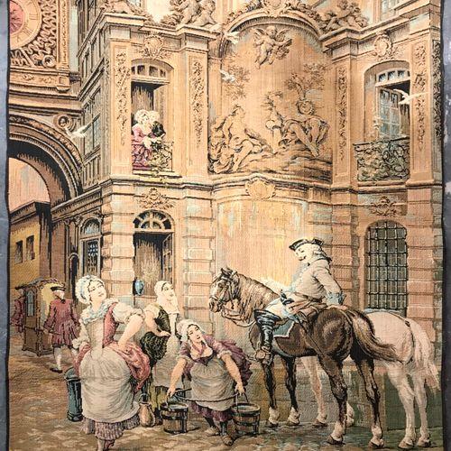 Jacquart Tapestry representing a gallant scene under the Big Clock of Rouen  H. …