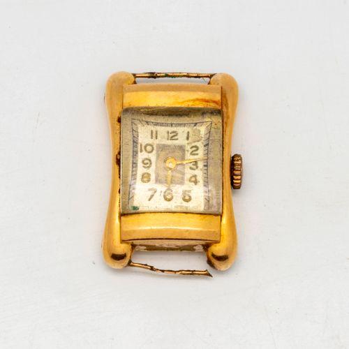 Petit cadran de montre en or de forme rectangulaire  poids brut : 8,3 g