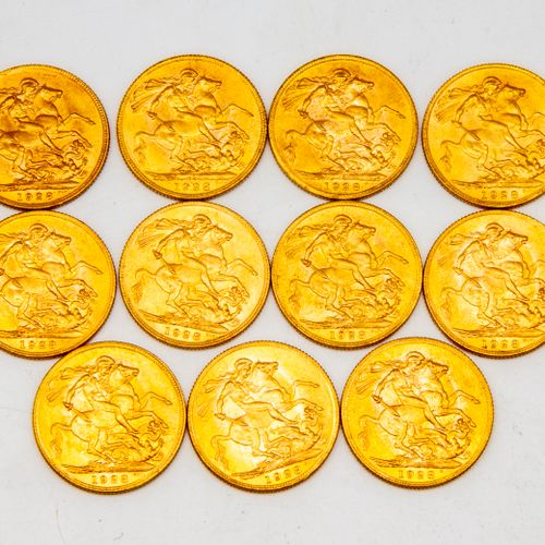 Eleven golden sovereigns George V  1928