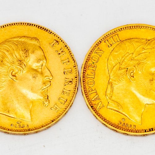 Two 50 franc gold coins  1858 1867