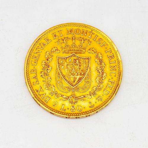 A Charles Felix Sardinia gold coin  80 lire 1928