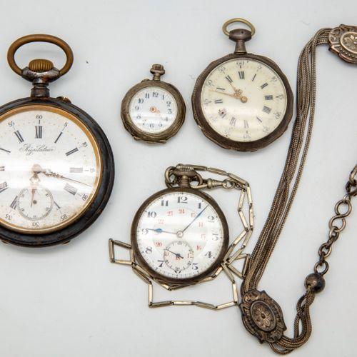 Lot de montres de gousset comprenant un régulateur, trois montres de gousset en …
