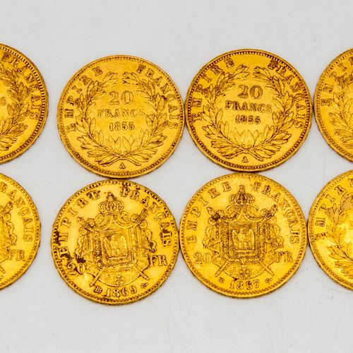 Eight 20 franc gold coins Napoleon III  Dated 1857 1858 1855 1867 1868 1869