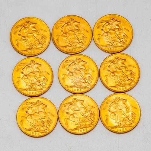 Nine golden sovereigns Geoges V  Dated 1928