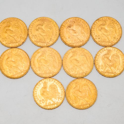Ten 20 franc gold cockerel coins  1905 1906 1907