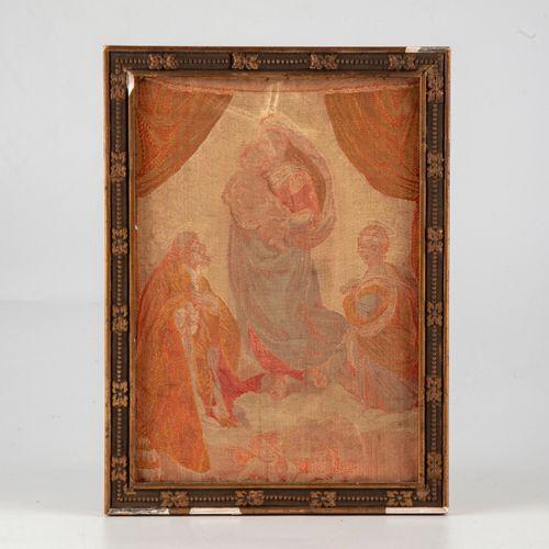 Tissus reproduisant la Madone Sixtine de Raphaël.  H. : 18 cm ; L. : 13 cm