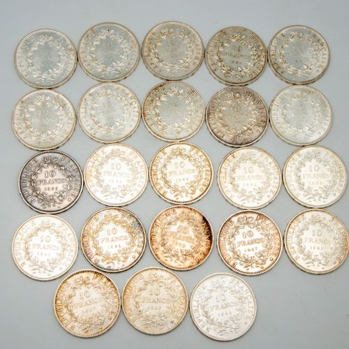 Lot of 23 pieces of 10 francs silver