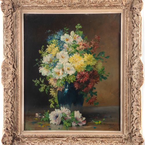 Edmond van COPPENOLLE (1843 1915)  Bouquet de fleurs au vase bleu  Huile sur toi…