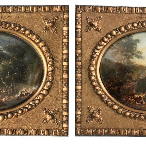 ECOLE FRANCAISE XIXe  Paysages  Paire de fixés sous verre (?) ou huiles sur toil…