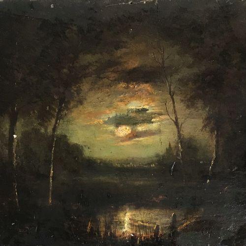 40ECOLE FRANCAISE de la fin du XIXe  Paysage au clair de lune  Huile sur panneau…