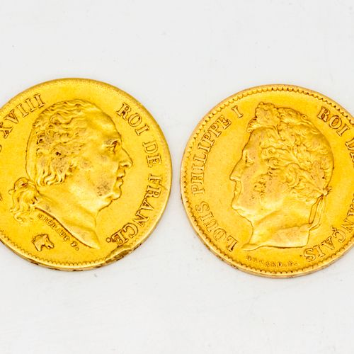 Two 40 francs gold Louis XVIII coins  1817 1833