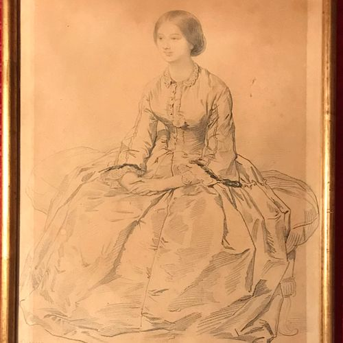 Eugene DEVERIA (1805 1865)  Seated woman  Pencil drawing  Bears a signature and …