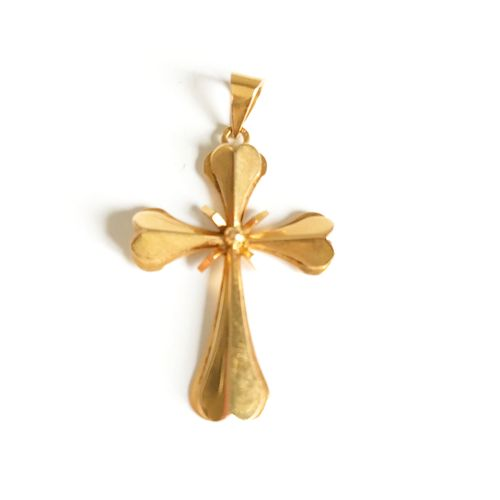 Yellow gold cross  Eagle head Weight: 3,72 gr