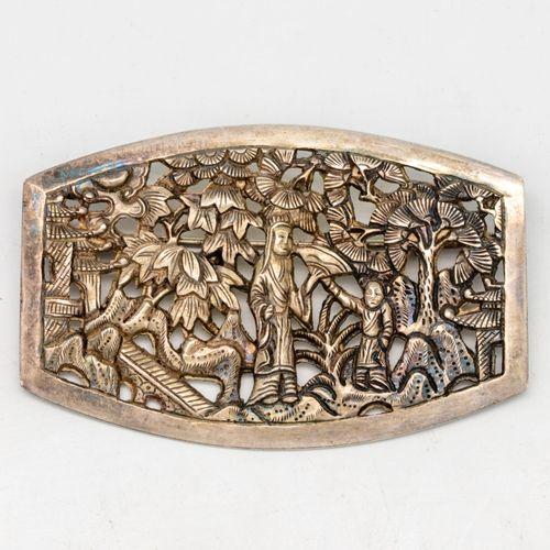 Openwork silver plate, Asian motif, circa 1920