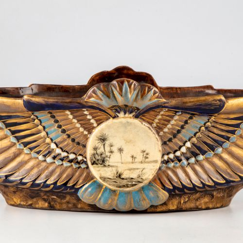 Emile GALLE Nancy (period 1875 1889)  Earthenware planter with enamelled and gil…