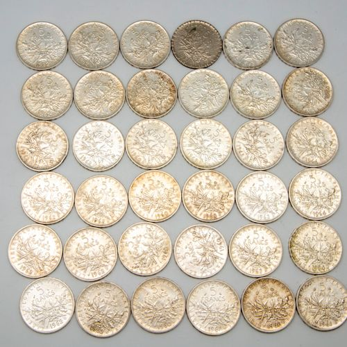 36 pieces of 5 Francs silver