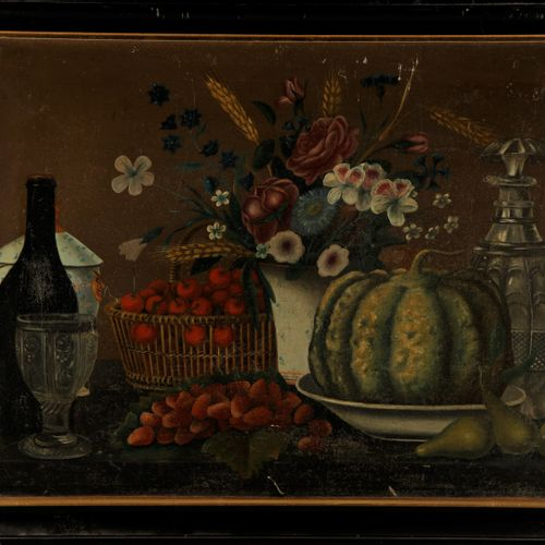 ECOLE ETRANGERE XIXe  Nature morte au panier de fruits et vase de fleurs  Huile …