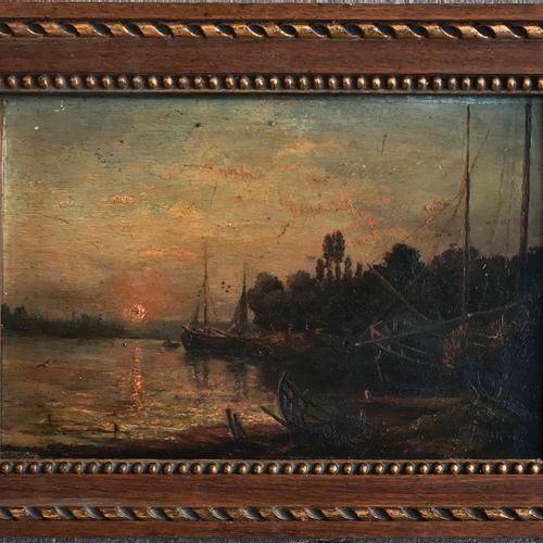ECOLE FRANCAISE de la fin du XIXe  Bateaux au soleil couchant  Huile sur panneau…