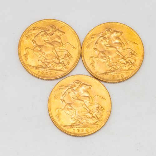 Three golden sovereigns George V