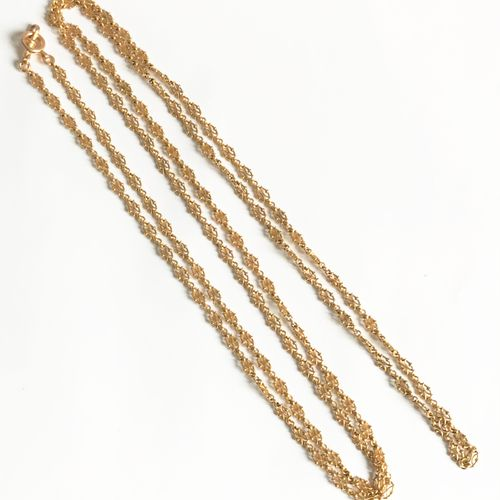 Long Renaissance yellow gold long necklace.  Eagle's head Weight: 40.92 gr